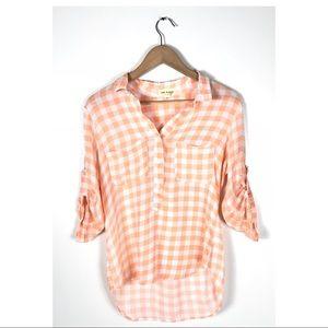 Anthro Cloth & Stone Top checkered plaid orange S
